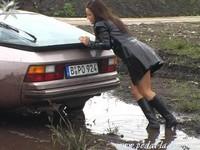 Porsche embourbée.