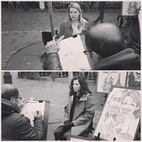 Caricaturistes à Montmartre.