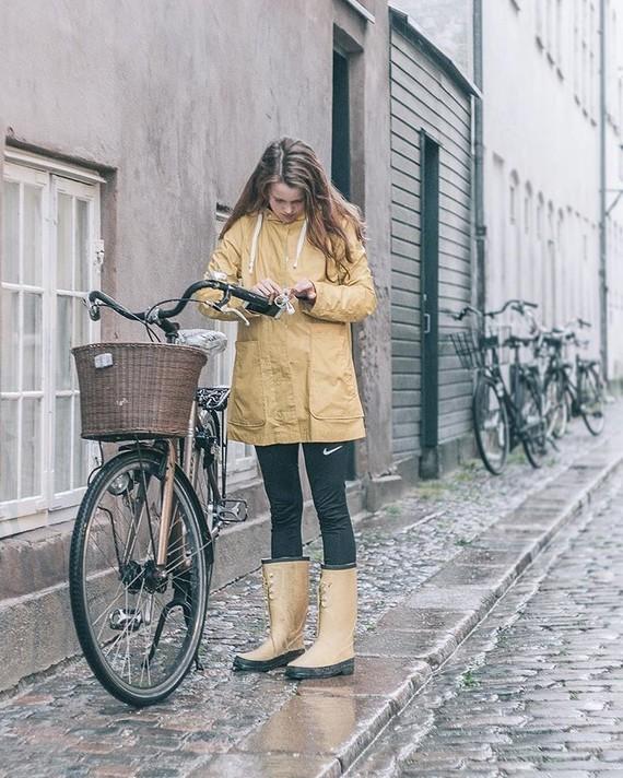 Pluie et bicyclette.