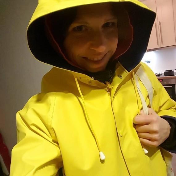 Selfie avant de sortir sous la pluie.