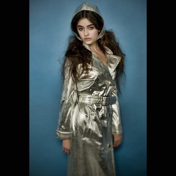 Silver raincoat.