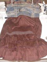 jupe chamoisine et jean's avec ceinture cache cache T 36 et 38