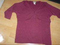 tshirt violet, galon au col manches 3/4, 50/52