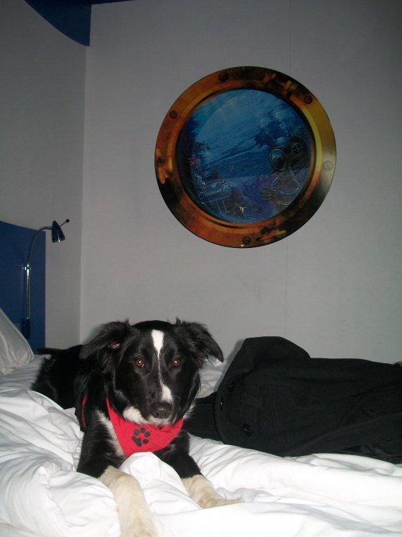 A l'hotel Jules Verne après un gros dodo sur le lit en face =D