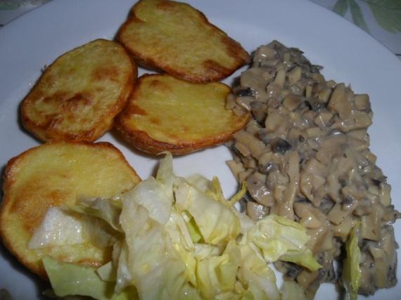 pommes de terre four et pâté champignons frais (maison)