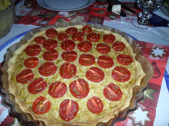 tarte poireaux-tomates-crème soja