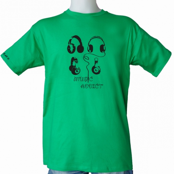 t shirt music addict homme vert ojo loco mckinleycomm. Black Bedroom Furniture Sets. Home Design Ideas