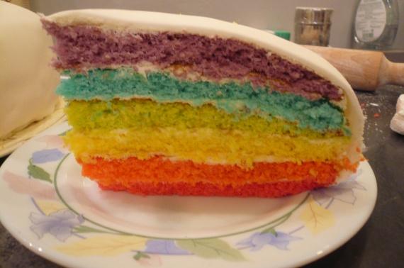 rainbow cake : la part laissée à mon homme !!