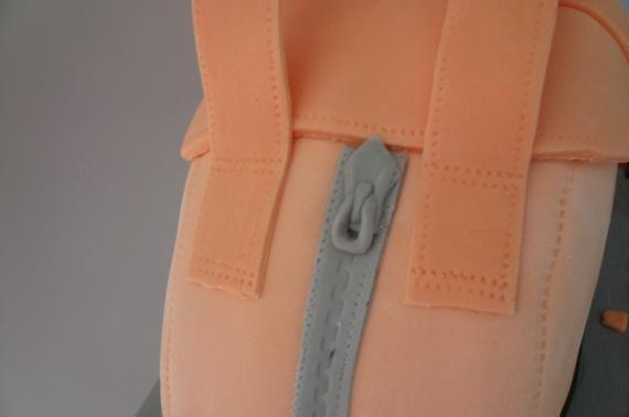 détails couture et fermeture éclair gateau sac à main