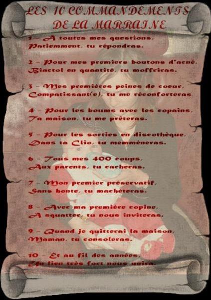 10 COMMANDEMENTS MARRAINE