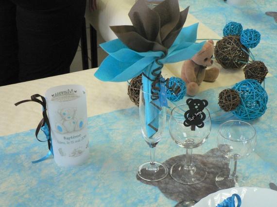 Baptême Loris Theme Ourson Coloris Turquoise Et Chocolat Baptême