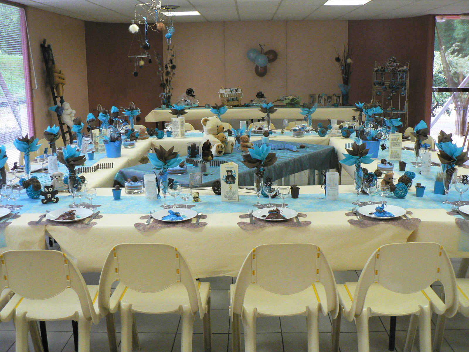 Baptême Loris Theme Ourson Coloris Turquoise Et Chocolat