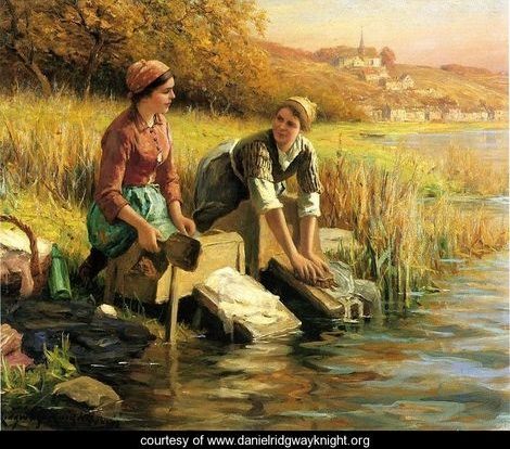 Women-Washing-Clothes-By-A-Stream
