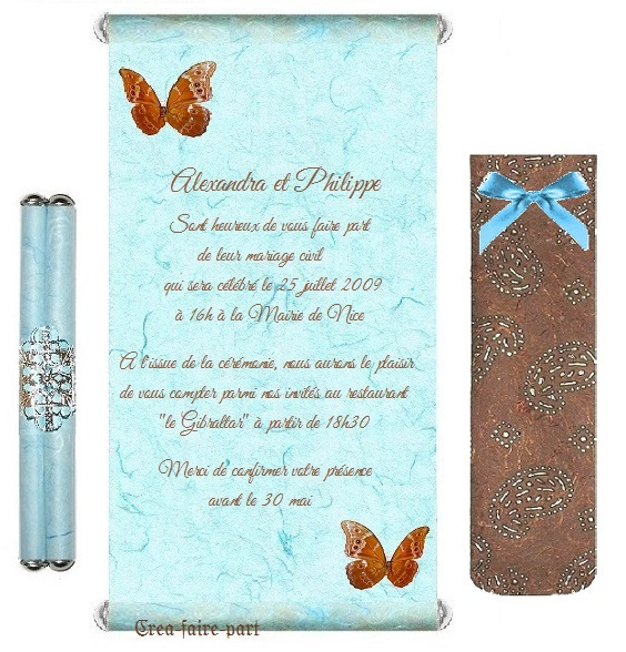 faire part turquoise chocolat papillon