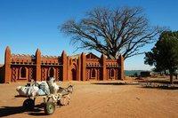 Maison traditionnelle d'architecture soudanaise à Segou, Nord du Mali