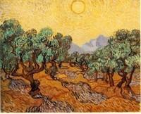 Van Gogh - Oliviers sous un ciel jaune et le soleil