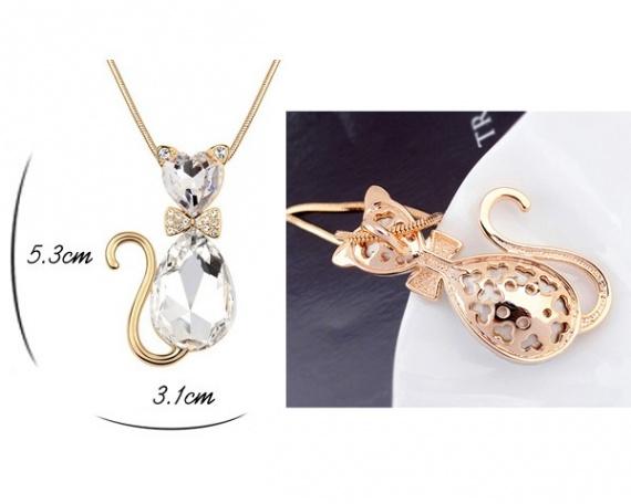 Collier + pendentif Chat cristal swarovski blanc