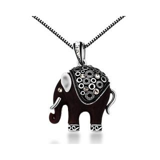 Collier + pendentif Elephant noir