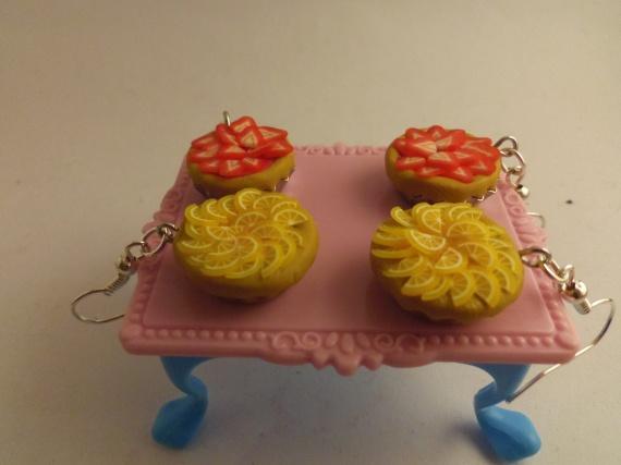 Boucles d'oreilles Tarte fraise et orange
