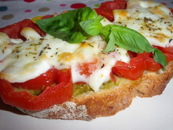 tartine chaude jambon blanc + tomates + mozza