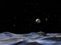 Vue sur Pluton depuis l'1 de ses lunes, car il y aurait 3 lunes-Charon, Nix et Hydra.