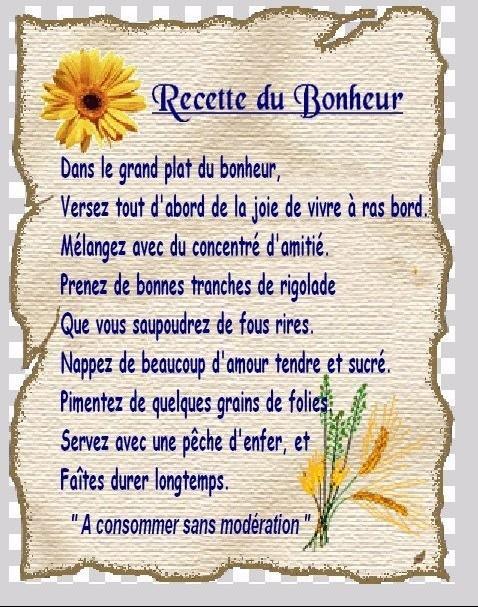 Recette du bonheur jojo222818 doctissimo - Poeme coccinelle porte bonheur ...