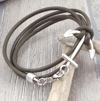 Kit bracelet coton cire kaki homme avec fermoir ancre marine
