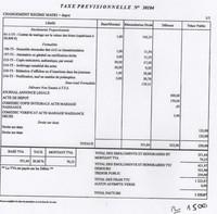 Taxe Prévisionnelle N° 30104