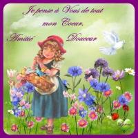 je pense à vous de tout mon coeur amitié douceur jardin de fleurs