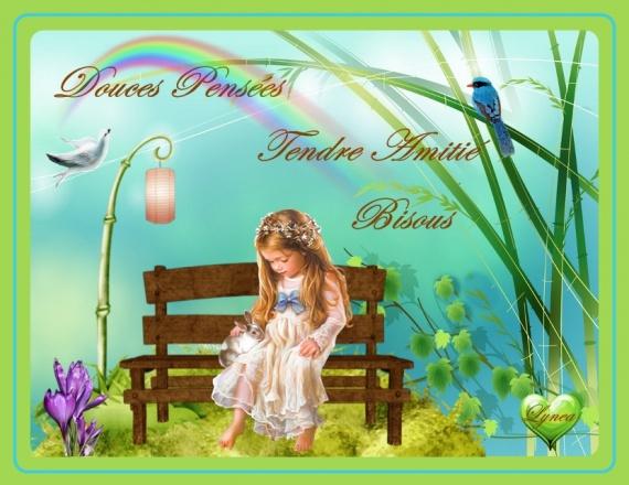 douces pensées-tendre amitié-bisous fillette lynea
