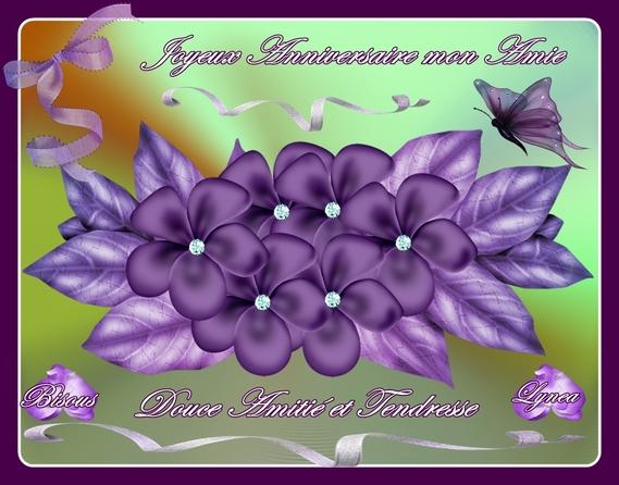 Joyeux Anniversaire Mon Amie Fleurs Mauves De Lynea Anniversaires