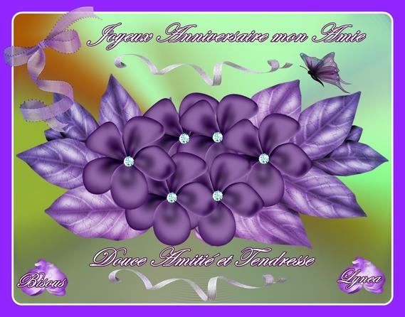 Joyeux Anniversaire Mon Amie Fleurs Mauves De Lyneaa Anniversaires