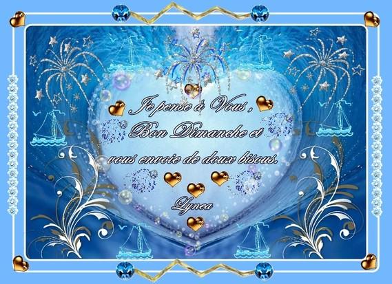 bon dimanche-douces pensées-bisoux de lynea coeur bleu