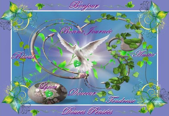 bonjour bonne journée douces pensées bisous...la colombe coeur de lynea