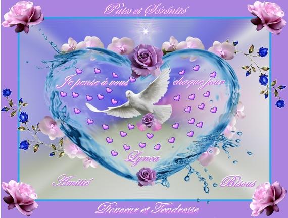 paix et sérénite- je pense à vous chaque jour coeur colombe de lynea
