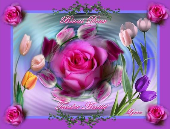 bisous doux-tendre amitié fleurs de lynea