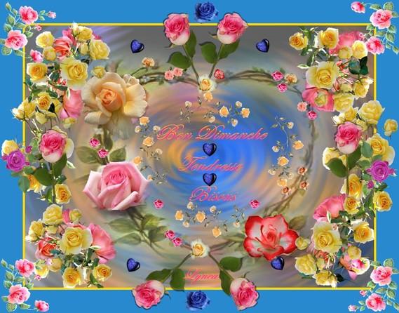 bon dimanche-tendresse-bisous roses de lynea