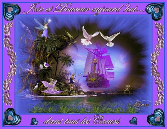 joie et douceur aujourd'hui dans tous les coeurs-bateau mauve de lynea