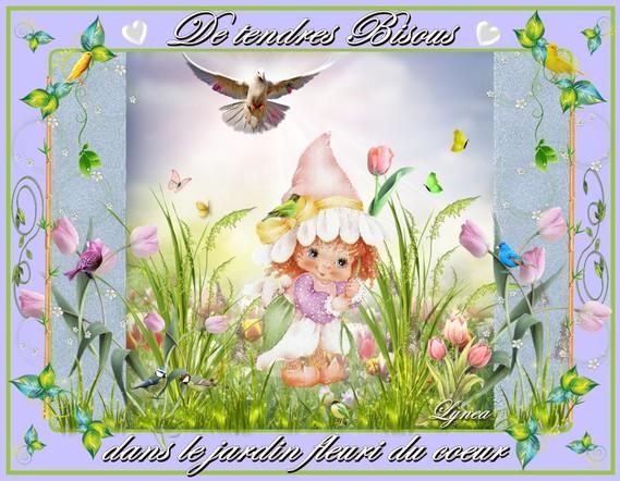 bisous dans le jardin fleuri-lynea