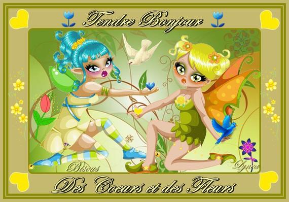 Bonjour doux avec des coeurs et des fleurs- bisous de LYnea