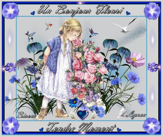 Bonjour fleuri-tendre moment-bisous de Lynea