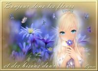 bonjour dans les fleurs et des bisous doux-Lynea
