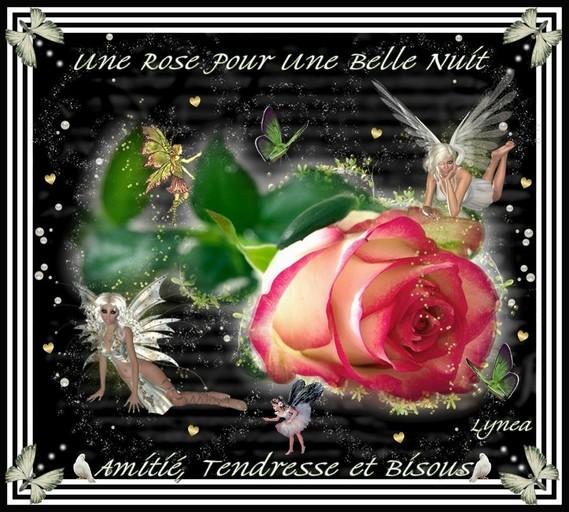 Belle Nuit- Une Rose---Amitié-Tendresse et bisous de Lynea