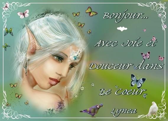 Bonjour avec joie et douceur dans le coeur-Lynea