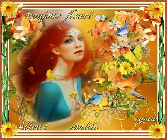 Bonjour fleuri-Amitié-Bisous de Lynea