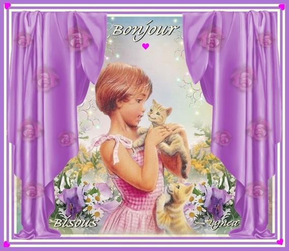 Bonjour avec les chats-Bisous de Lynea