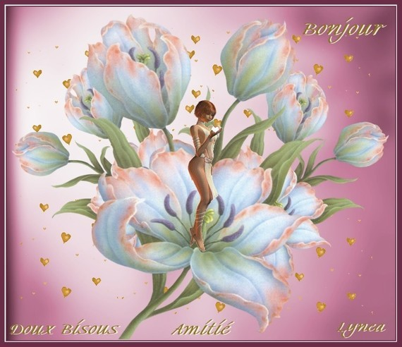 Bonjour-Doux bisous-Amitié de Lynea