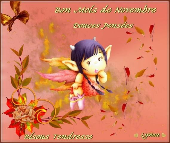 Bon mois de Novembre- Douces Pensées - Bisous Tendresse de Lynea