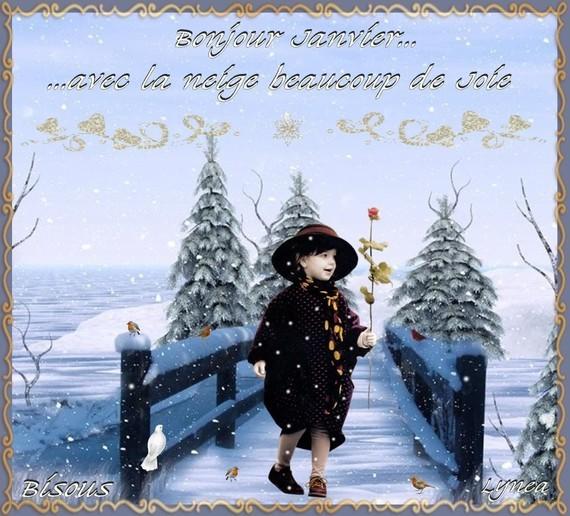 Bonjour Janvier- neige et joie-bisous de Lynea