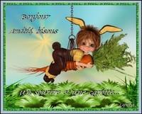 Bonjour-sourire et carotte-Amitié-bisous de Lynea